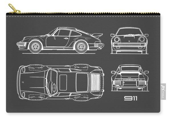 Porsche 911 Turbo Blueprint - Gray Carry-all Pouch
