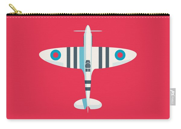 Supermarine Spitfire Fighter Aircraft - Stripe Crimson Carry-all Pouch