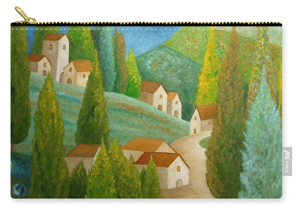 Carry-all Pouch featuring the painting All Is Calm All Is Bright by Angeles M Pomata