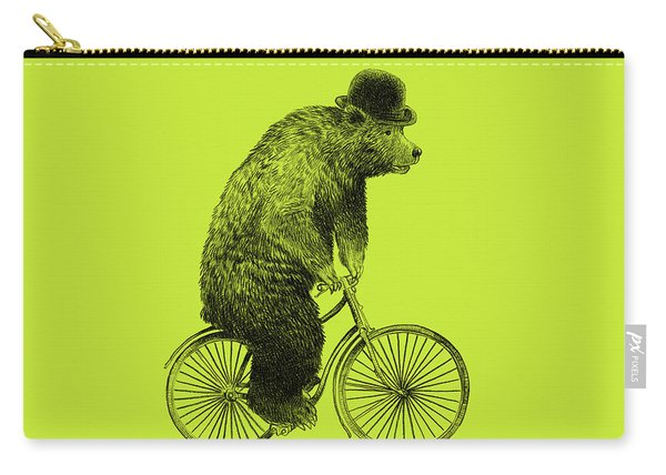 Bears On Bicycles - Lime Carry-all Pouch