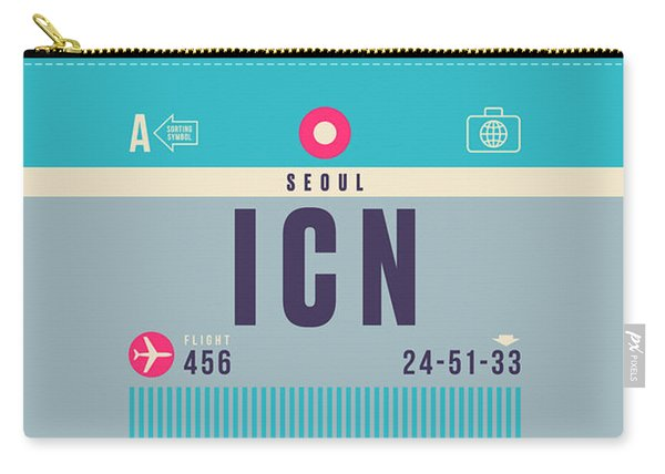 Retro Airline Luggage Tag - Icn Seoul Incheon Carry-all Pouch