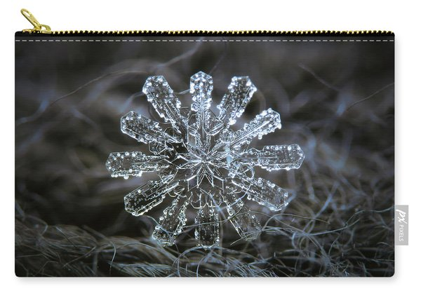 Carry-all Pouch featuring the photograph December 18 2015 - Snowflake 3 by Alexey Kljatov
