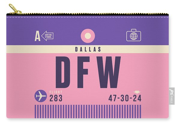 Retro Airline Luggage Tag - Dfw Dallas Fort Worth United States Carry-all Pouch