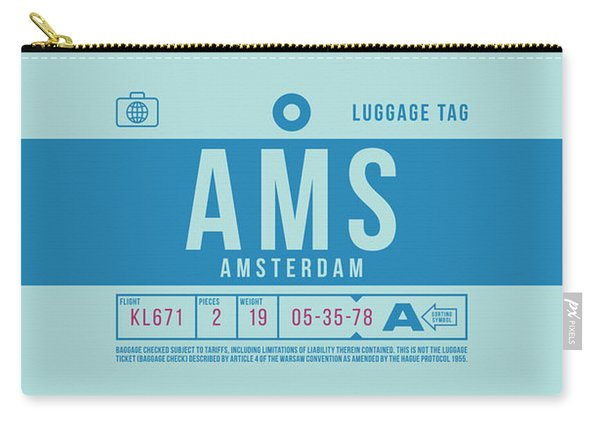 Retro Airline Luggage Tag 2.0 - Ams Amsterdam Netherlands Carry-all Pouch