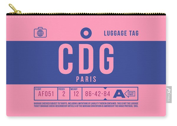 Retro Airline Luggage Tag 2.0 - Cdg Paris Charles De Gaulle France Carry-all Pouch