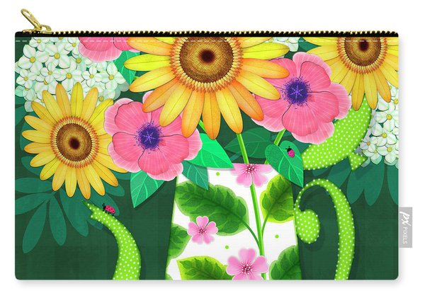 Summer Flowers In Coffee Pot Carry-all Pouch