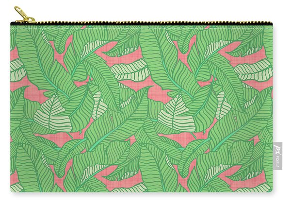 Banana Leaf Pattern Pink Carry-all Pouch