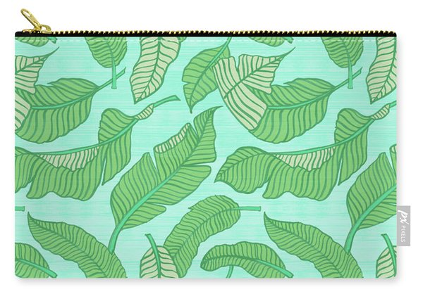 Banana Leaf Pattern Blue Carry-all Pouch