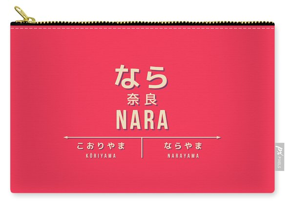 Retro Vintage Japan Train Station Sign - Nara Kansai Red Carry-all Pouch