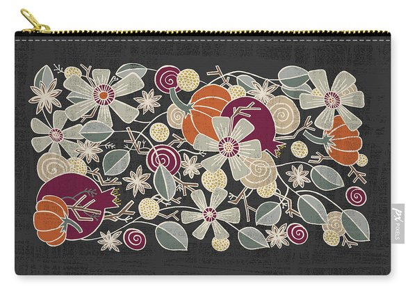 Fall Botanical Art Black Background Carry-all Pouch
