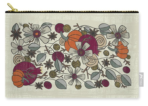 Fall Botanical Art Cream Background Carry-all Pouch