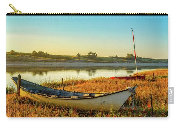 Carry-all Pouch featuring the photograph Boats In The Marsh Grass, Ogunquit River by Jeff Sinon