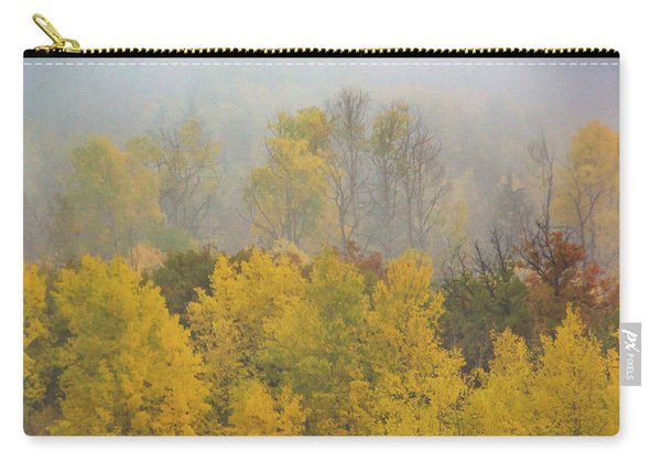 Carry-all Pouch featuring the photograph Aspen Trees In Fog by John De Bord