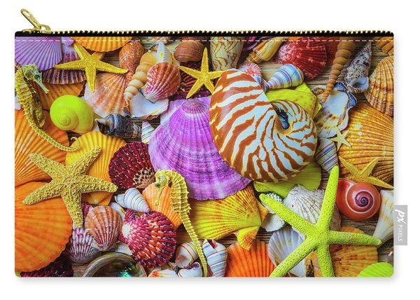 Assortment Of Beautiful Seashells Carry-all Pouch