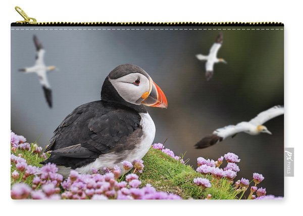 Atlantic Puffin And Soaring Gannets Carry-all Pouch