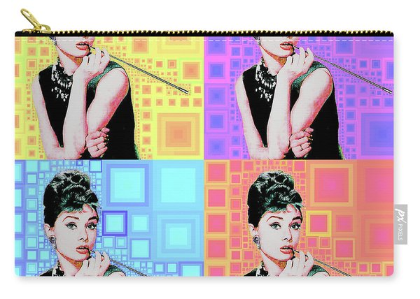 Audrey Hepburn Breakfast At Tiffanys In Mca Mid Century Abstract Squares Four 20190223 Carry-all Pouch