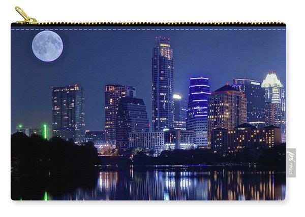Austin At Lady Bird Lake With Moon Carry-all Pouch