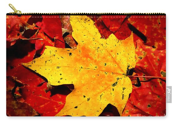 Autumn Beige Yellow Leaf On Red Leaves Carry-all Pouch