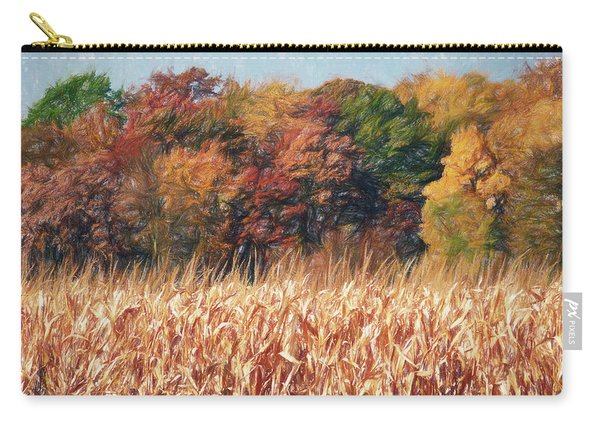 Carry-all Pouch featuring the digital art Autumn Cornfield by Don Northup