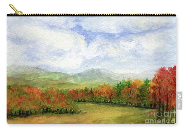 Autumn Day Watercolor Vermont Landscape Carry-all Pouch