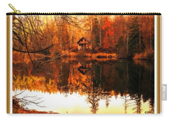 Autumn Dreams Reflected  L A S With Decorative Ornate Printed Frame. Carry-all Pouch