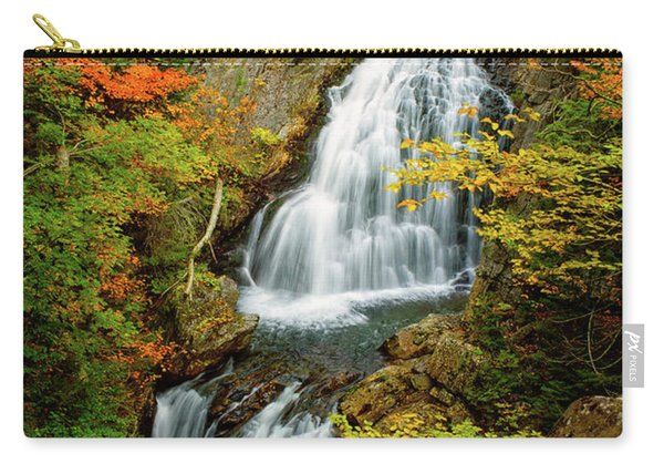 Carry-all Pouch featuring the photograph Autumn Falls, Crystal Cascade by Jeff Sinon