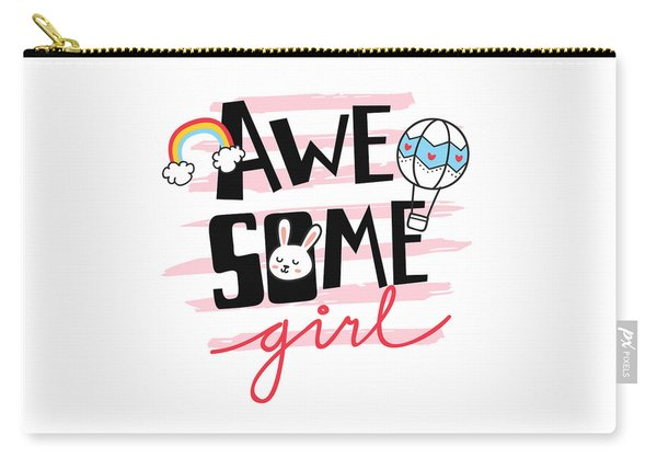 Awesome Girl - Baby Room Nursery Art Poster Print Carry-all Pouch