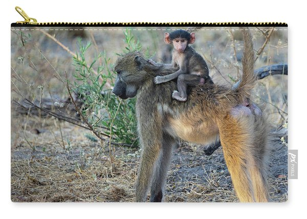 Baboon And Baby Carry-all Pouch