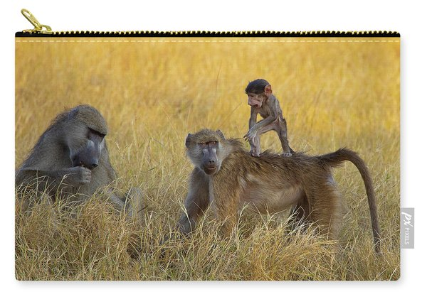 Baboons In Botswana Carry-all Pouch