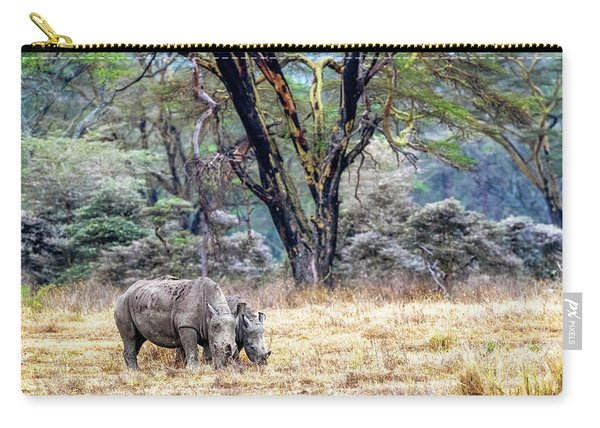 Baby And Parent White Rhino In Lake Nakuru Carry-all Pouch