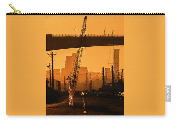 Carry-all Pouch featuring the photograph Baby Giraffe In The Urban Jungle. by Rob D Imagery