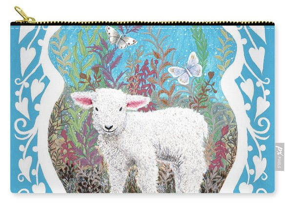 Baby Lamb With White Butterflies Carry-all Pouch
