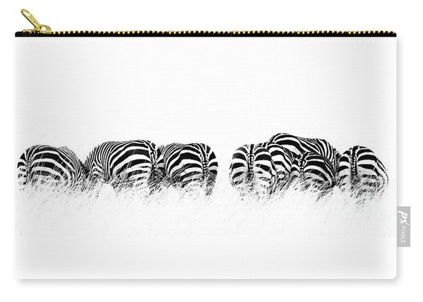 Back View Of Zebras In A Row  Horizontal Banner Carry-all Pouch