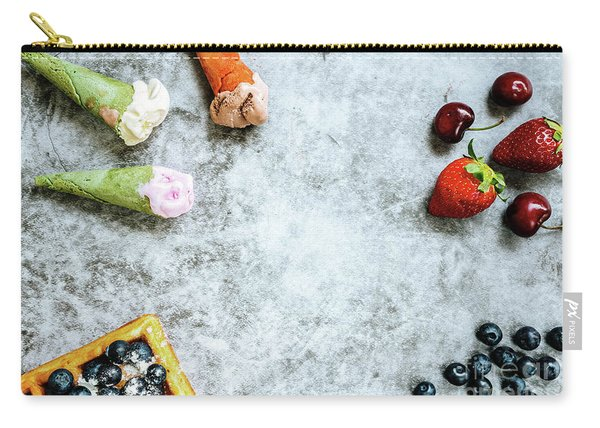 Background Of Tasty And Sweet Foods With Red Fruits And Waffles, Carry-all Pouch