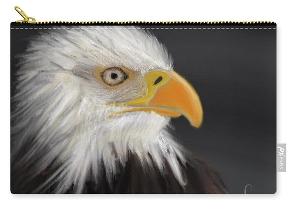 Carry-all Pouch featuring the pastel Bald Eagle by Fe Jones