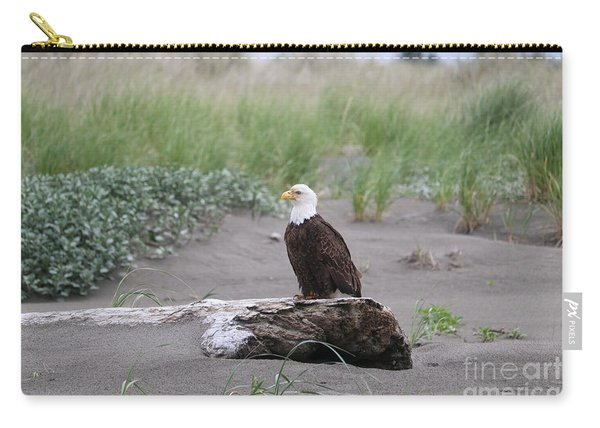 Bald Eagle On Driftwood Carry-all Pouch