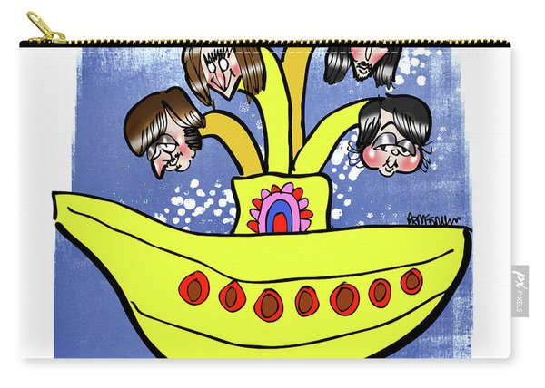 Carry-all Pouch featuring the digital art Banana Submarine by Mark Armstrong