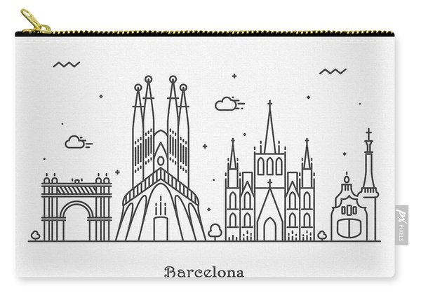 Barcelona Cityscape Travel Poster Carry-all Pouch