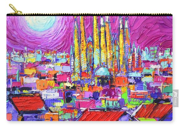 Barcelona Mystic Full Moon Over Sagrada Familia Abstract Cityscape Knife Painting Ana Maria Edulescu Carry-all Pouch