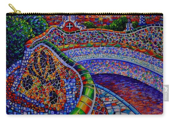 Barcelona Park Guell Sunrise Modern Impressionist Impasto Knife Oil Painting Ana Maria Edulescu Carry-all Pouch