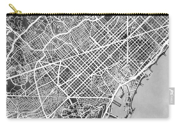 Barcelona Spain City Map Carry-all Pouch