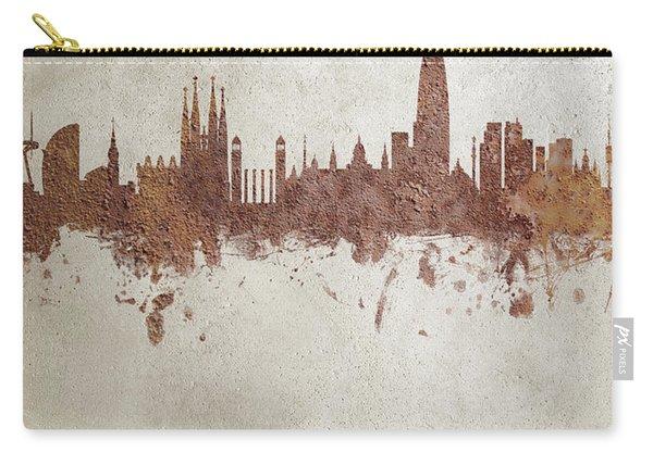 Barcelona Spain Rust Skyline Carry-all Pouch