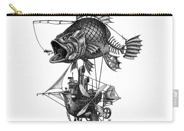 Carry-all Pouch featuring the drawing Bass Airship by Clint Hansen