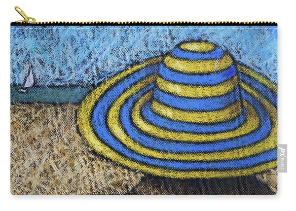 Beach Hat Blue And Yellow Carry-all Pouch