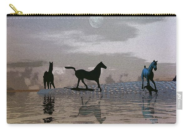 Beach Of Wild Horses Carry-all Pouch