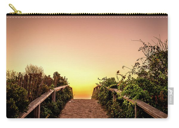 Carry-all Pouch featuring the photograph Path Over The Dunes At Sunrise. by Jeff Sinon