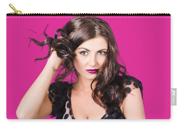 Beautiful Brunette Woman. Model Hair Style Carry-all Pouch