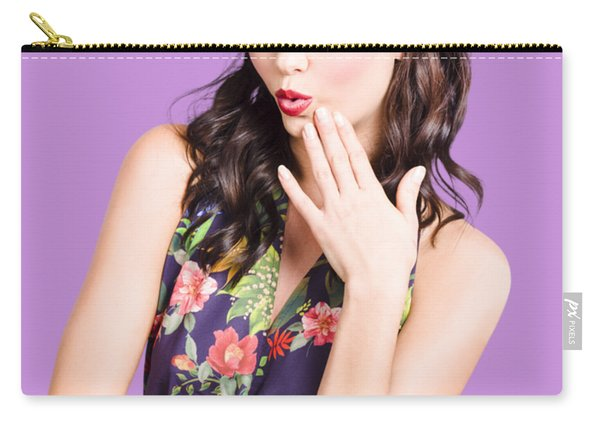 Beautiful Girl With Red Lips Expressing Surprise Carry-all Pouch
