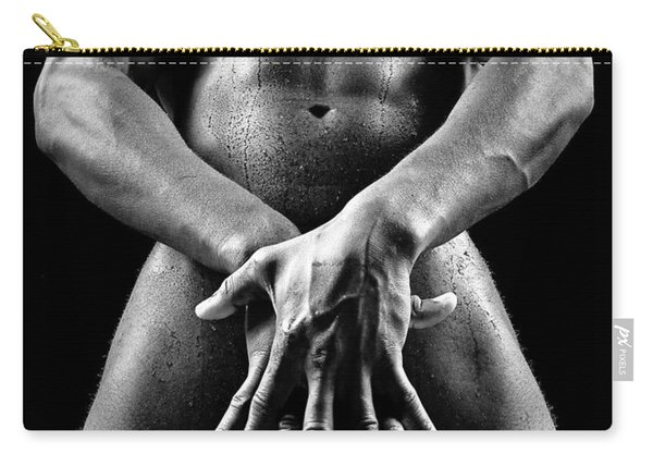 Beautiful Man Nude Or Naked With Great Sexy Body. Image In Black And White Carry-all Pouch