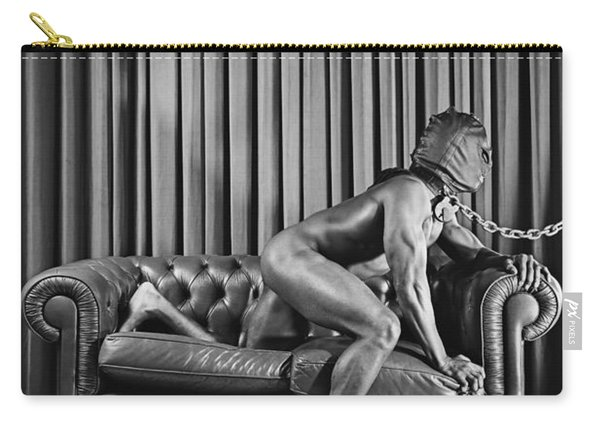 Beautiful Naked Man With Mask Posing On A Sofa Carry-all Pouch